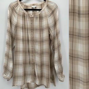J. Jill Plaid Button Front Tunic Top M